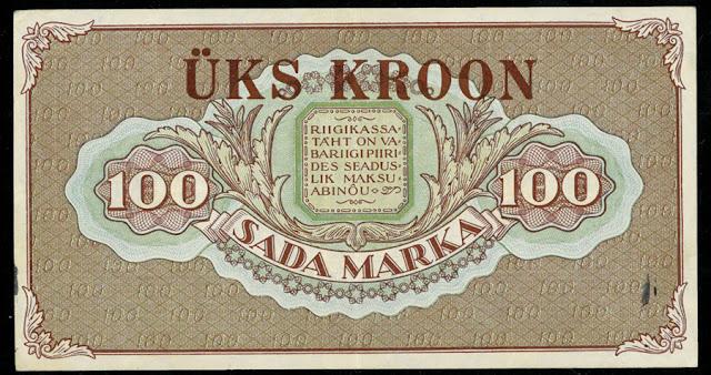 World paper money collection Estonia 100 Marka banknote
