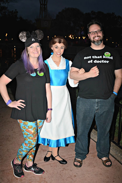 Celebrating my Birthday at the Magic Kingdom - Couple meeting Belle at Epcot