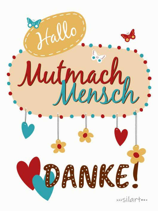 Danke Mutmachmensch, lettering card