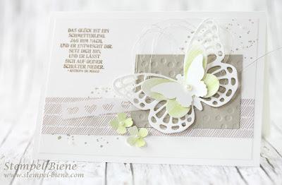 Stampinup Schmetterlingsgruß; Hochzeitspapeterie; Stempel-Biene; Auftragsarbeit Hochzeitsgeschenke; Gästegeschenke Hochzeit; Grußkarte Schmetterlinge; Schmetterlingskarte