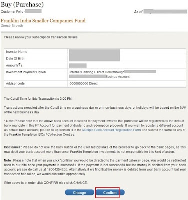 Franklin Templeton Mutual Fund Buy Confirmation