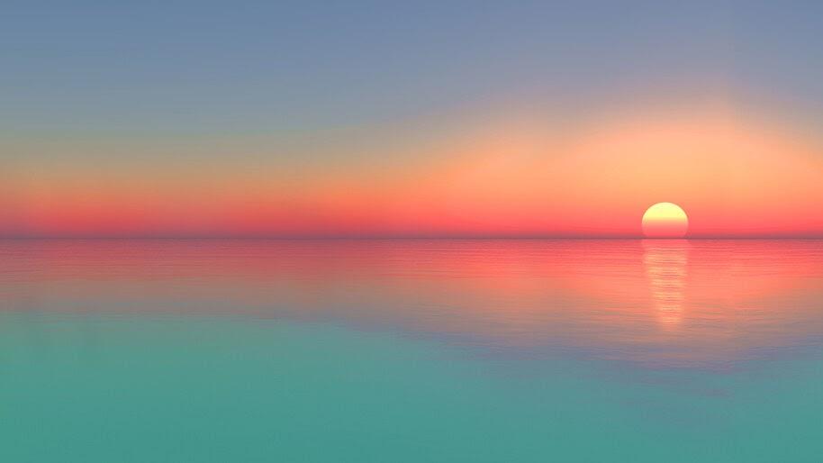 Calm, Sea, Sunset, Horizon, Scenery, 4K, #6.931