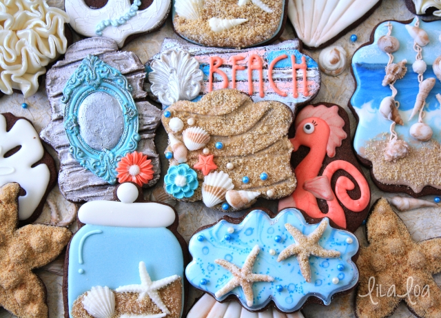 Beach sand cookies with fondant accents -- Cookie Decorating Tutorial