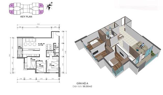 Thiết kế căn hộ Eco dream loại A - 3 phòng ngủ