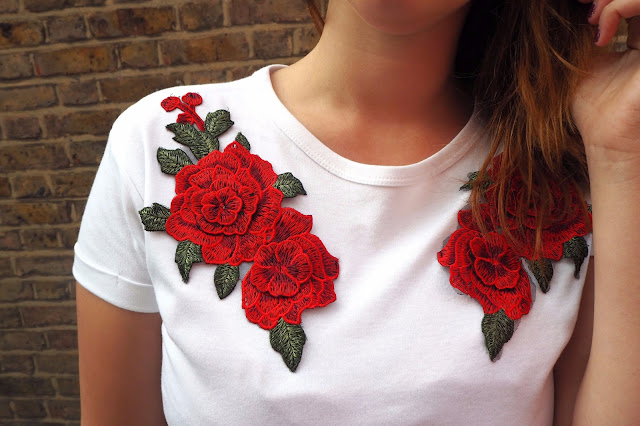 Close up of floral embroidery