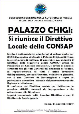 Comunicato CONSAP Palazzo Chigi  del 24 Novembre 2017