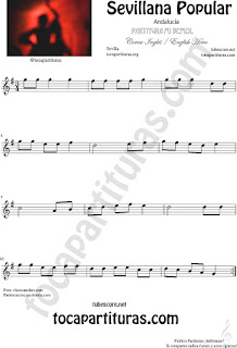 Sevillana Popular Partitura de Corno Francés en Mi bemol Sheet Music for English Horn Music Scores