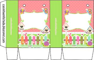 Cajas de   Mariposas en el Jardín para imprimir gratis.