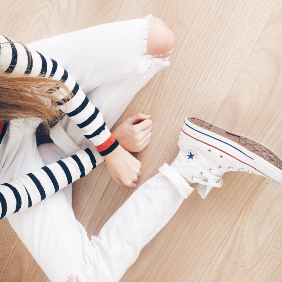 New In Spring 2017 - Primark Haul and Try On Striped Jumper White Jeans Converse