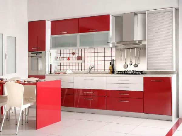 dapur kecil warna merah