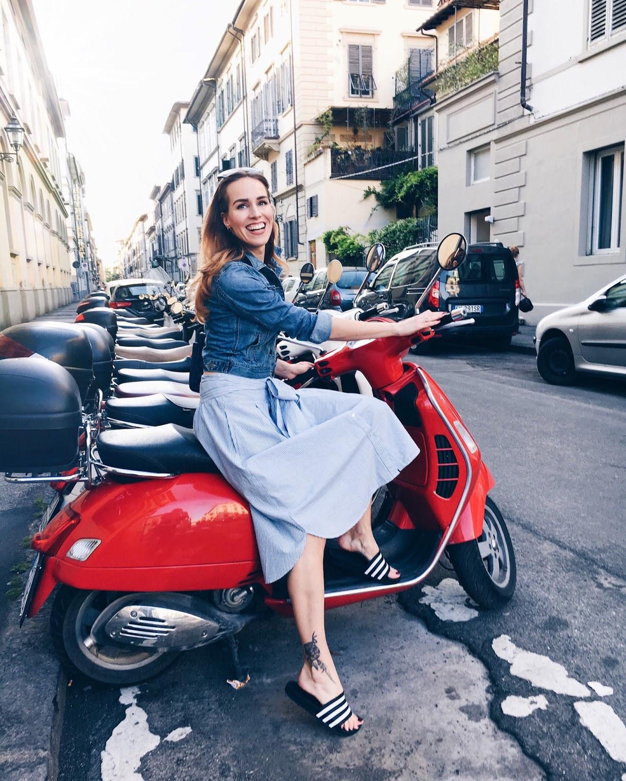 summer italy red vespa