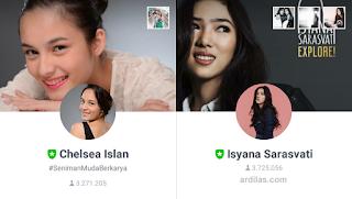 Tanda Hijau Verified. Celsea dan Isyana - Kumpulan Daftar Nama Atau ID Line Artis Indonesia Korea