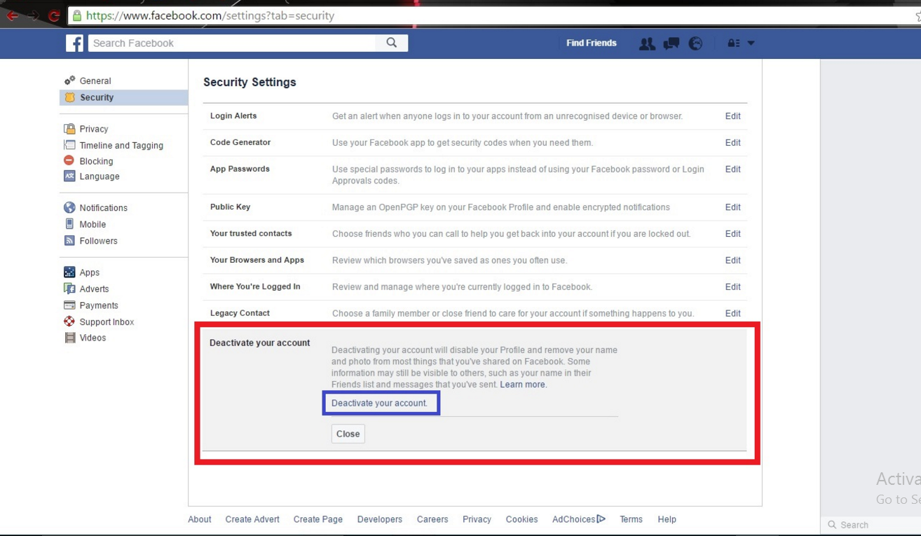 How to delete facebook page or facebook account weapons x tricks first you must have a facebook account which you have to delete permanently then login your facebook account then go to setting and click on security ccuart Gallery