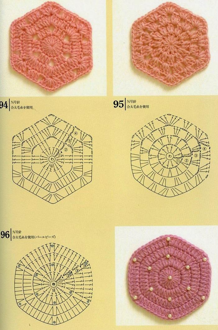 Motivos de Crochê Com Continhas - Com Gráficos 07