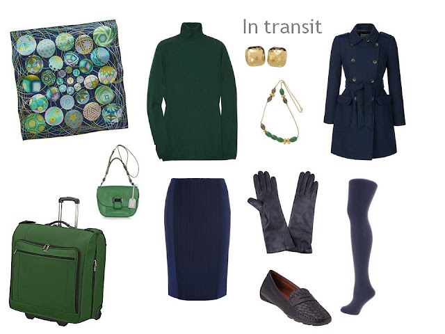 travel outfit in navy with hunter green accents