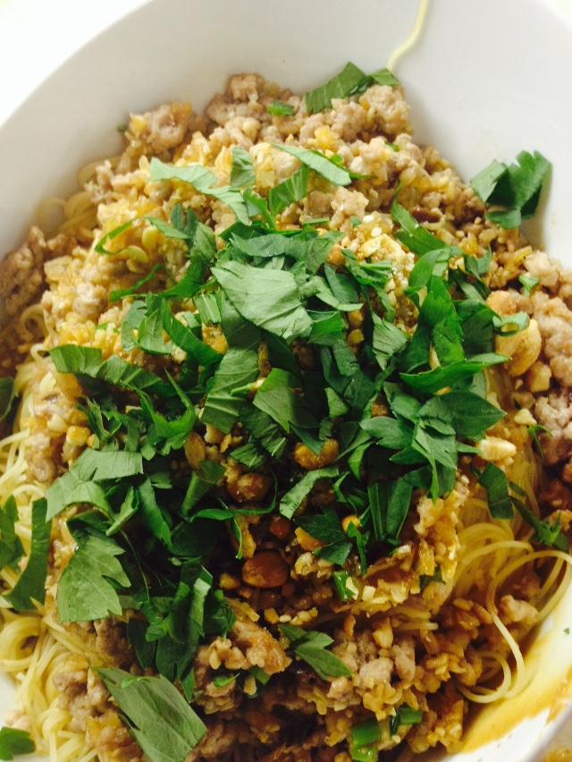 Into the Kitchen: Ground Pork and Cilantro noodles (Dan Dan