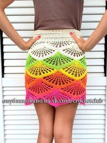 Patrón #1649: Falda Multicolor a Crochet