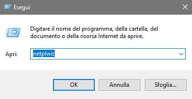 windows 10 - togliere password