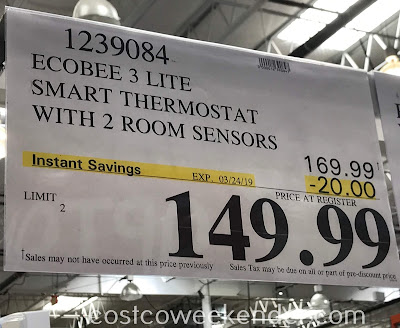 Deal for the ecobee3 lite Smart Thermostat with 2 room sensors at Costco