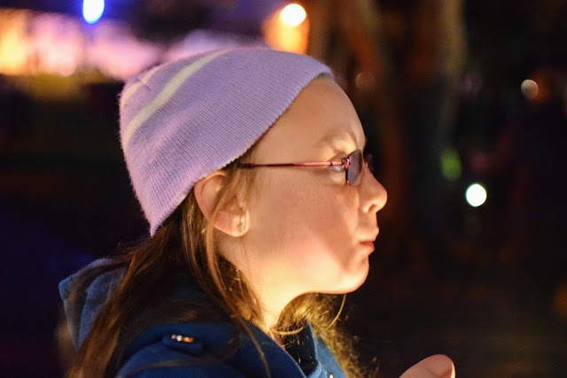 chips, hot chips, hot food in the dark, lanterns in the sky, twinkling lights, lantern parade, Christmas, advent, traditions, family, Pembrokeshire, Milford Haven, Santa, nativity, small town Christmas celebrations, UK, Wales, A child's Christmas in wales, light ceremony,