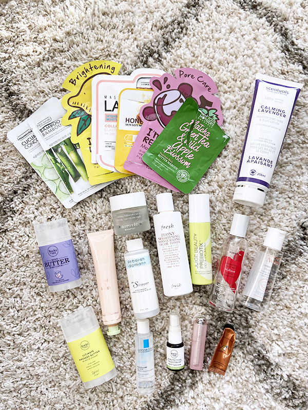 Empty skin and body care and beauty products from The Face Shop, Tonymoly, Labotica, Not Your Mother's Naturals, Scentuals, Rocky Mountain Soap Company, Dior, Omorovicza, Fresh, Pixi, Korres, Deborah Lippmann, Avene, Juice Beauty, La Roche Posay