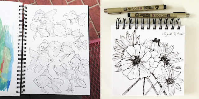 sketchbooks, Anne Butera, Micron Pen, drawing, sketching, goldfish, flowers, botanical drawing