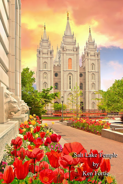 Resultado de imagen de salt lake temple with flowers