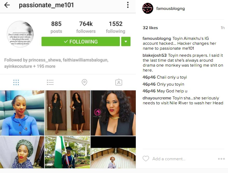 Actress Toyin Aimakhu's IG account hacked, username changed