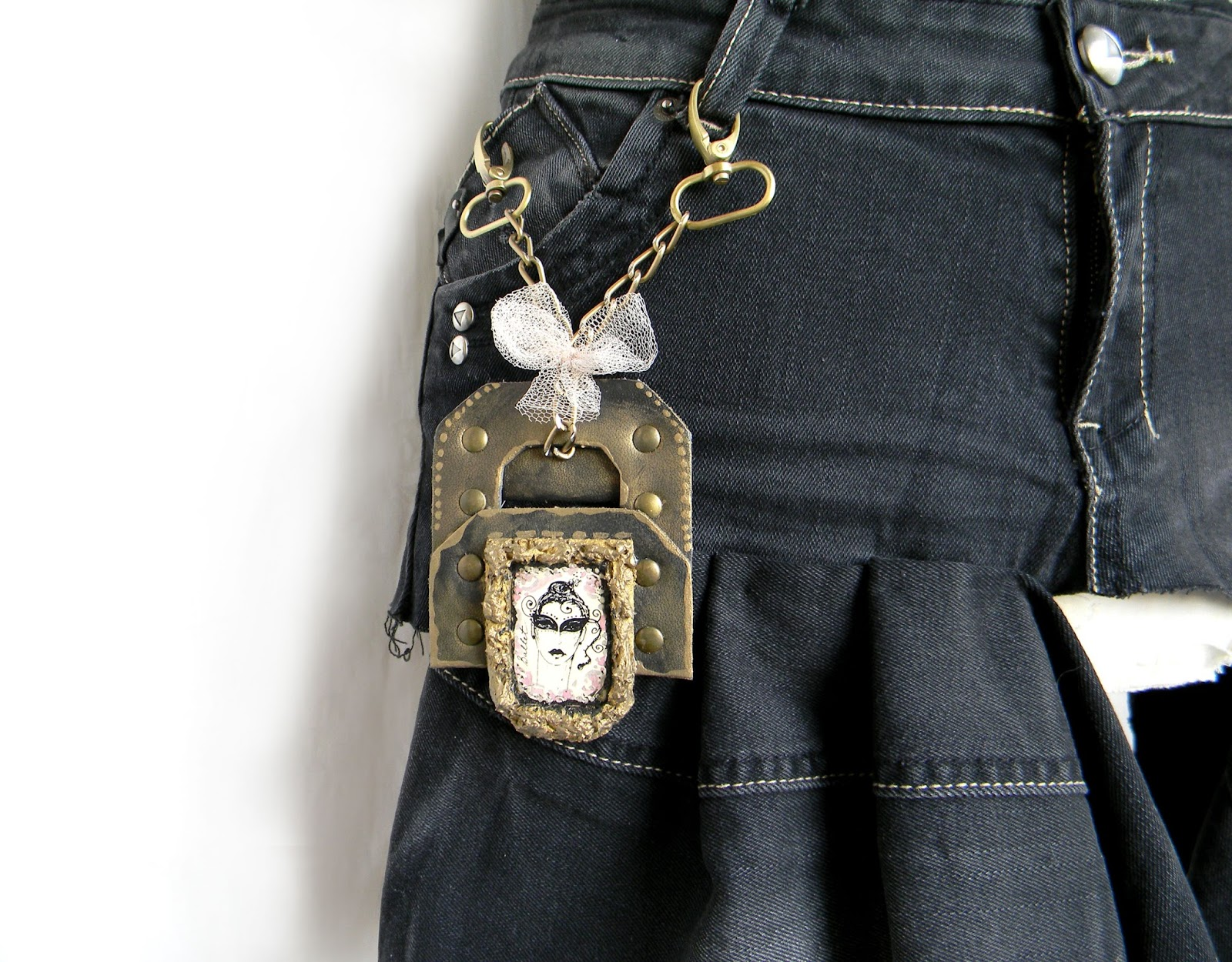 Handcrafted Pendant Accessory for Bottoms Skirt Trousers and Jeans Gothic Lolita Style
