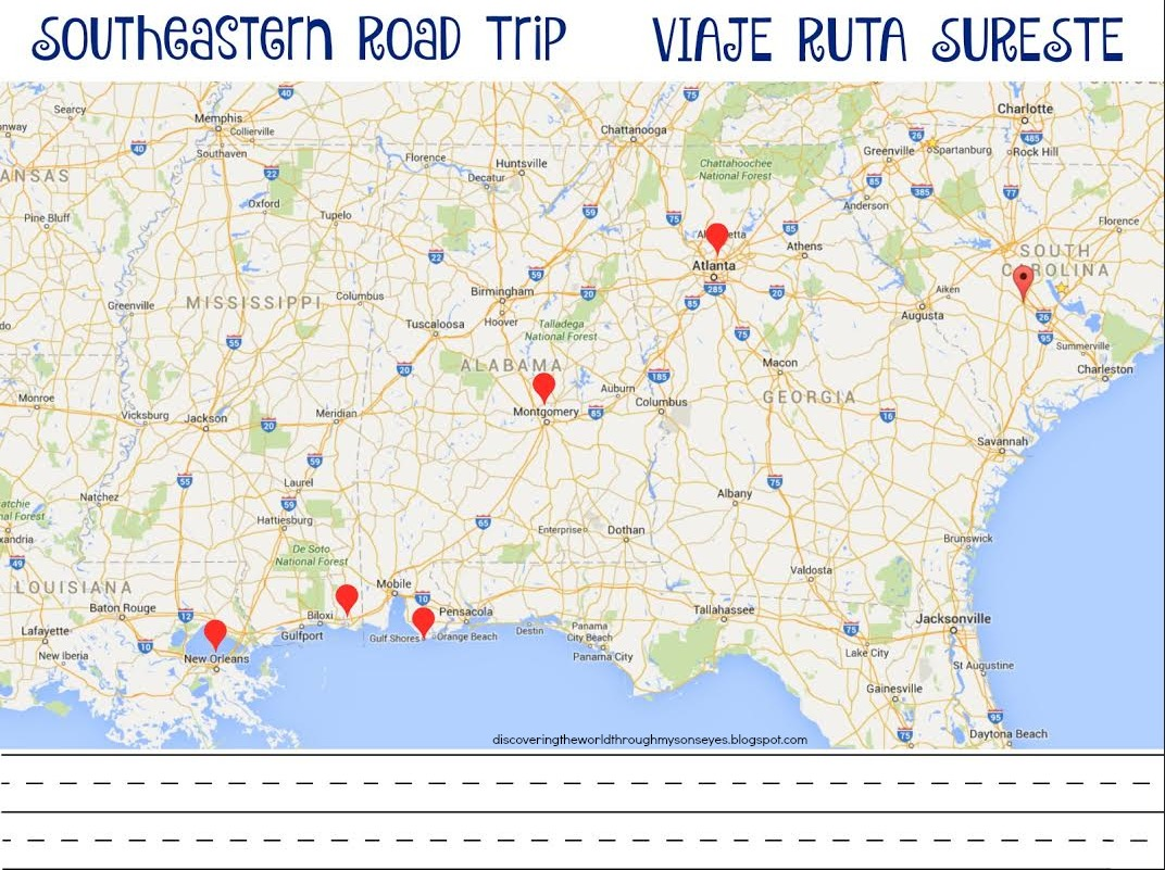 Bilingual road trip games and activities discovering the world printable of our road trip route map and fun facts for each state we were passing through andor visiting you can download both printables for free gumiabroncs Image collections