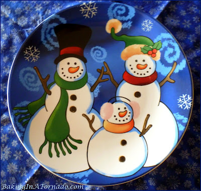 Frosty the Snowman and family platter used for my Angel Cake with Chocolate Whipped Cream and Berries. Frosty Fun Blog With Friends blog post | www.BakingInATornado.com