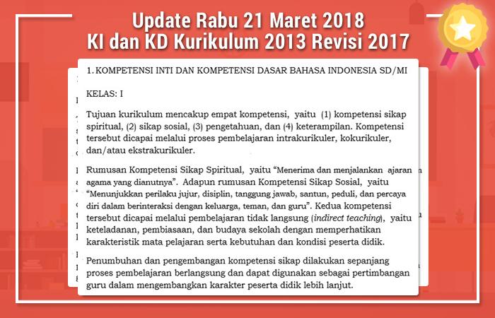 Update Rabu 21 Maret 2018 KI dan KD Kurikulum 2013 Revisi 2017 DOC