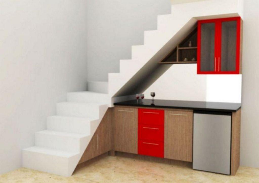 penataan desain interior dapur di ruang sempit unik