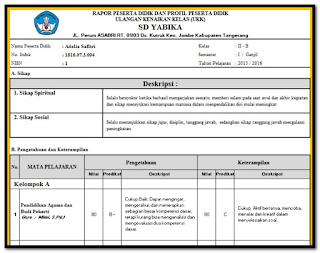 contoh raport untuk kelas I revisi terbaru