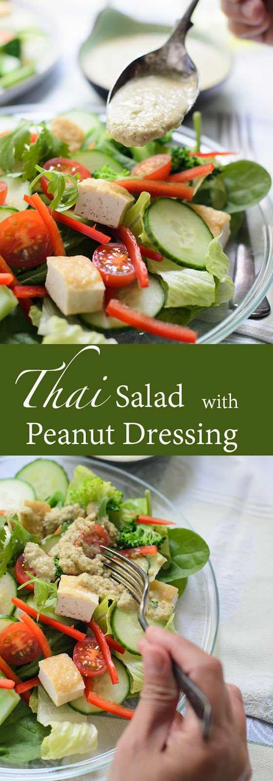 Thai salad with peanut dressing recipe.  Thai salad or Yam Yai as its known to local Thais, consist of mix bag of fresh green, steam vegetable, beancurd and egg as the source of protein.  Serve with creamy rich peanut dressings.