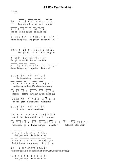 Chord St12 Saat Terakhir : chord, terakhir, Angka, Terakhir, Pianika, Recorder, Keyboard, Suling, Chord, Piano