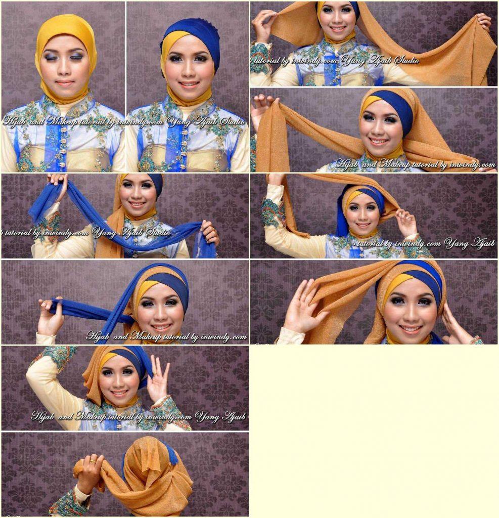 30 Tutorial Hijab Pashmina Paris Dua Warna / Dua Kerudung