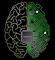 Sibernetik, yarısı elektronik devre ve ortasında çip olan beyin