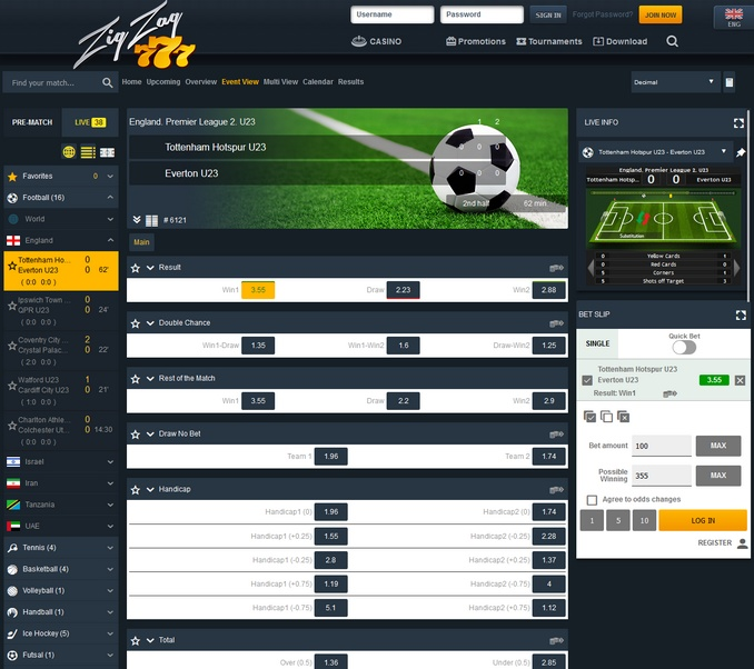 ZigZag777 Live Betting Screen