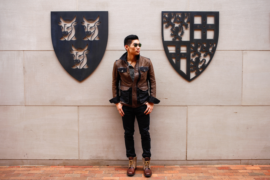 Levitate Style, Timberland, Timberland Tenon Leather Jacket, City Premium Boots, Yale University, Fall Style, Leo Chan, Alicia Mara