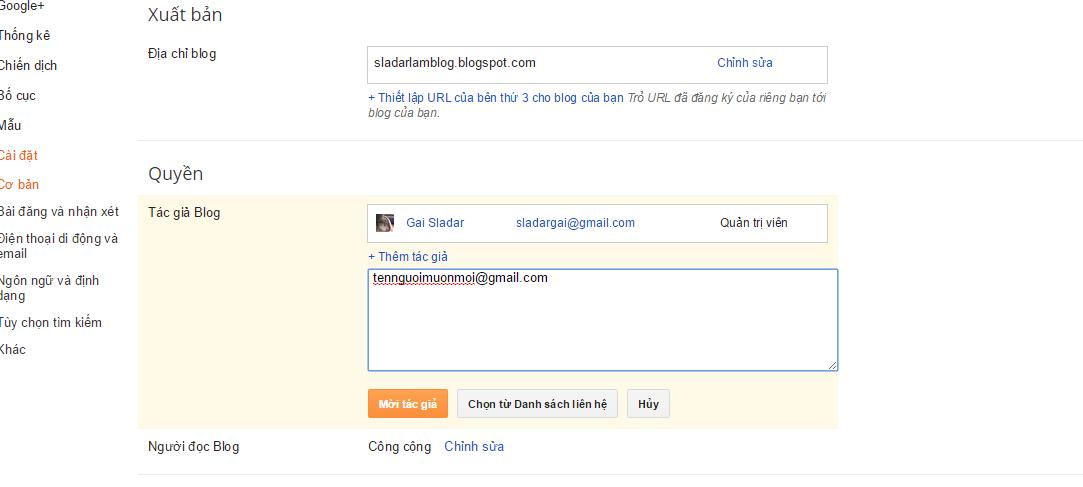 Các thao tác cài đặt ban đầu cho Blog