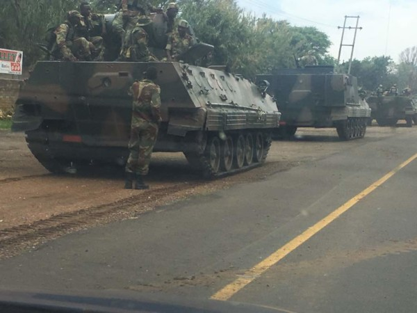 Armoured Tanks ride towards Zimbabwe's capital amid Tensions between Military & Mugabe's Party