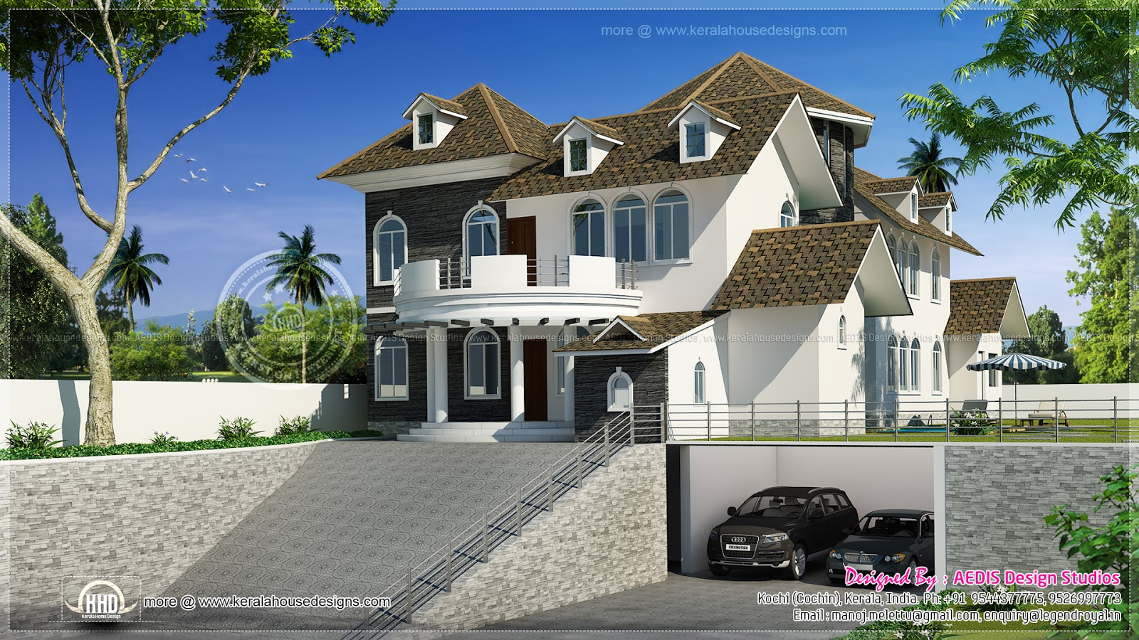 3400 square feet modern hill side home design kerala for Designer house plans