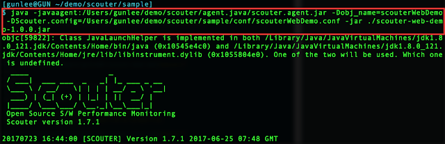 Scouter java agent command sample