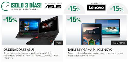 -15% en ordenadores Asus y tablets Lenovo de El Corte Inglés
