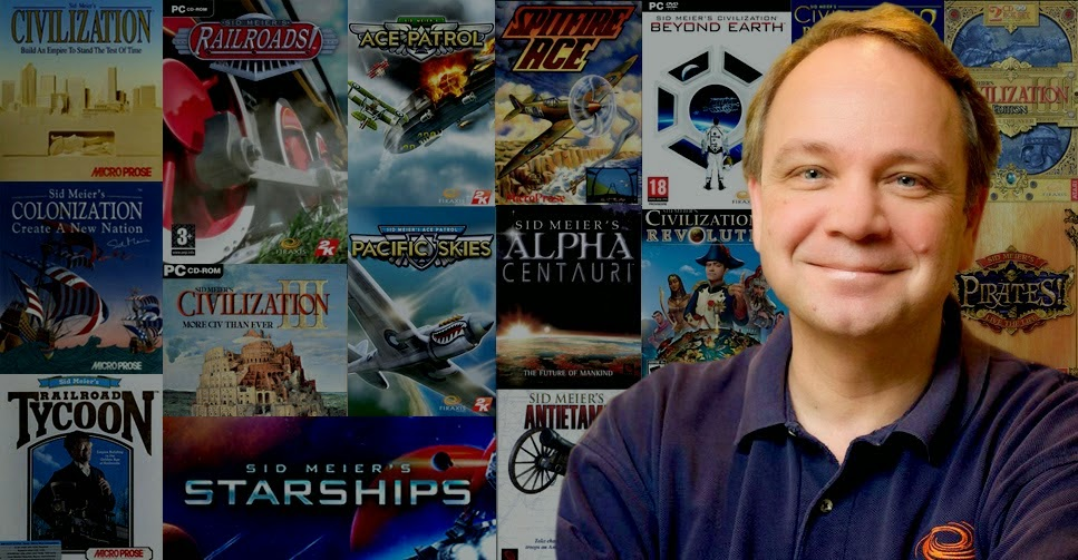 Sid Meier in front of a wall of games his name is associated with