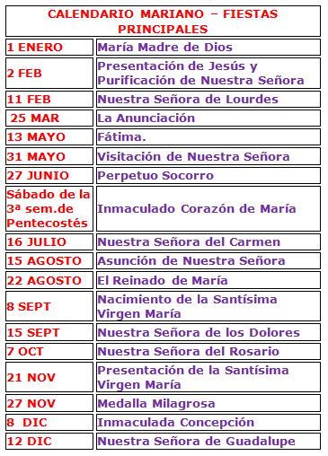 Calendario Mariano.Amigos Del Santo Rosario Calendario Mariano