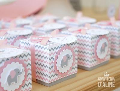 caixinha elefantinha chevron cinza rosa