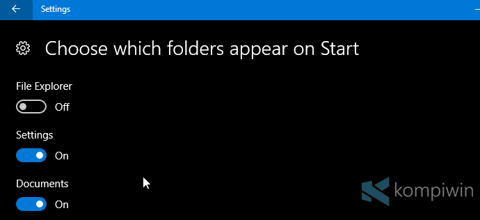 folder start menu windows 10