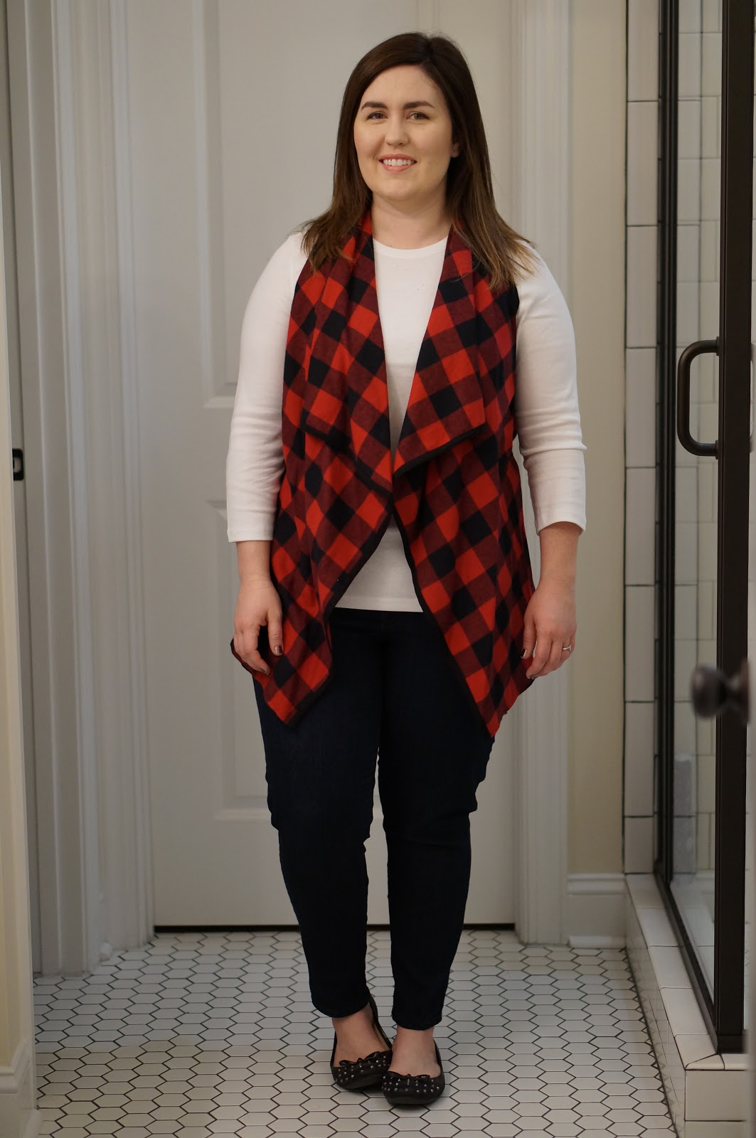 Rebecca Lately Buffalo Plaid Fall Style Flowy Vest White Top Skinny Jeans Studded Flats